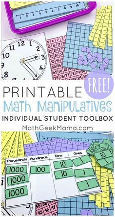 Printable Math Manipulatives   FREE Download