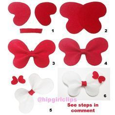 Overlay of heart shaped felt. Fold it same way as making bow tie b… Overlay of heart shaped felt. Fold it same way as making bow tie bows. Wrap the center. For detail version, please… Ribbon Crafts, Felt Crafts, Diy And Crafts, Diy Hair Bows, Diy Bow, Felt Bows, Ribbon Bows, Baby Bows, Baby Headbands