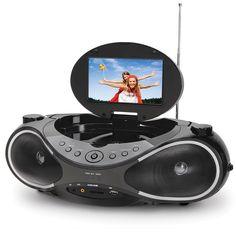 "The Video Boombox - Hammacher Schlemmer - AM/FM/CD plus a 7"" Flat Screen digital television with DVD player."