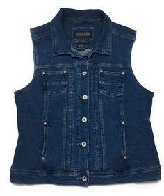 Denim Vest Large Blue Jean Stretch Cotton Knit Biker Boho Hippie  Live a Little  | eBay