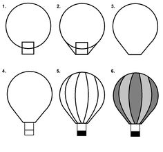 Hot Air Balloon step-by-step tutorial. Cute Cartoon Drawings, Cute Easy Drawings, Doodle Drawings, Hot Air Ballon Drawing, How To Draw Balloons, Kids Canvas Art, Balloon Painting, Step By Step Drawing, Drawing For Kids