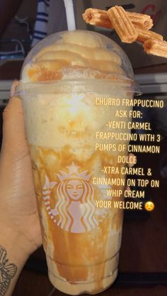 If you're gonna repost TAG ME starbucks drink Churro Frappuccino 🍯 IG: Infamousjas Starbucks Hacks, Starbucks Secret Menu Drinks, Starbucks Order, Starbucks Food, Special Starbucks Drinks, Bebidas Do Starbucks, Healthy Starbucks Drinks, Yummy Drinks, Smoothie Drinks