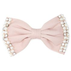 FOREVER 21 Rhinestone & Faux Pearl Bow Clip
