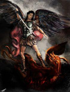 Saint Michael Slays The Dragon by composur3