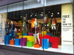 Gap colorful boxes window display