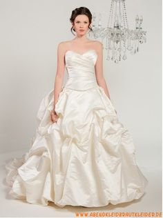 A-linie Lange Brautkleider aus Taft mit Schleppe
