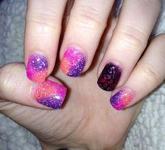 Pink/Purple/Orange/Black Gel Nails. Nail Innovationz!