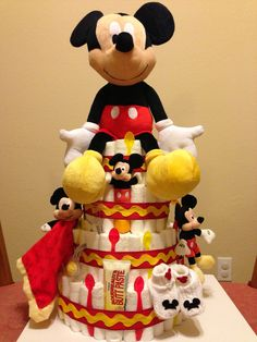 Diaper Cake - Mickey Mouse themed cake I made for a friend.
