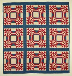 "1910 red, white and blue quilt at Nebraska History.  Young Man's Fancy (Bachelor's Puzzle) 82 x 76""."