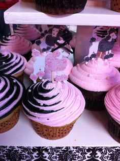 Le FiFi! ~ Pink Poodle Birthday Cupcakes ~ Light Pink, Black, White and French Poodles.  Cupcakes by: Bella Baby Cakes