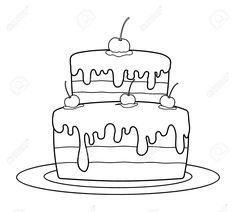 Outlined Birthday Cake For Coloring Book Vector Royalty Free Cliparts, Vectors, And Stock Illustration. Image 50425301.