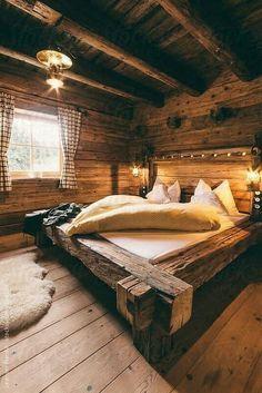Bed Frame Design, Bed Design, House Design, Tiny House Cabin, Log Cabin Homes, Cabins, Rustic Bedroom Furniture, Bedroom Decor, Outdoor Furniture