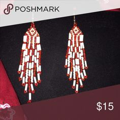 Pretty vintage red and white chandelier earrings Vintage Native American style chandelier earrings. Red and white seed bead perfect for Valentine's Day. Pierced hook hangs about 3 1/2 inches from earlobe. native American vintage style Jewelry Earrings