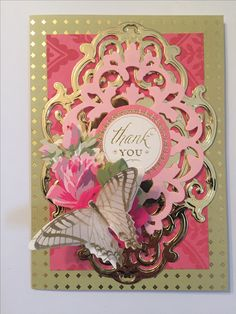 Thank you card created with Anna Griffin products.