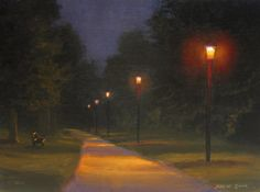 Creekside Park Nocturne Painting. 8x10 acrylic on birch painted en plein air by North Carolina artist, Jeremy Sams