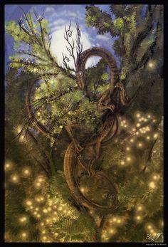 SciFi and Fantasy Art Tree-Dragon