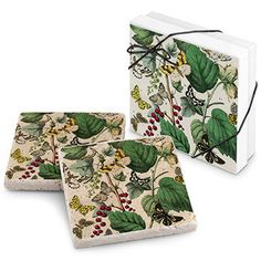 Butterfly Garden Stone Travertine Coaster (Set of 2)