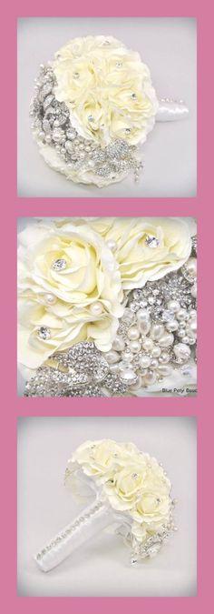 Sienna Rose Bouquet by Blue Petyl #wedding #brooch bouquet #jeweled flower…