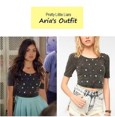 On the blog: Aria's (Lucy Hale) embellished gray crop top   Pretty Little Liars…