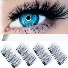 Features:  3D Double Magnetic Eye Lashes will make your life so much easier,and these lashes are lightweight and time consuming. No more glue, no more hurt any more. You deserve have it !     Material: Imported Fiber False Eyelashe Length: 1-1.5cm False Eyelashes Terrier: Plastic Black Soft Cotten Terrier False Eyelashes Style: Long & Thick Use: Reusable up to 25 times with proper care Procedure: Cruelty-Free/Safe Package Include: 4pcs How to use:   Hold top one two lash (the one without t