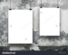 #Two #blank #frames against #grey #stained #concrete #wall #background