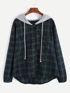 Shop Plaid Button Pocket Sweatshirt With Contrast Hood online. SheIn offers Plaid Button Pocket Sweatshirt With Contrast Hood & more to fit your fashionable needs. Flannel Sweatshirt, Hooded Flannel, Hoodie Sweatshirts, Sweat Shirt, Casual Outfits, Cute Outfits, Fashion Outfits, Fashion Clothes, Fast Fashion