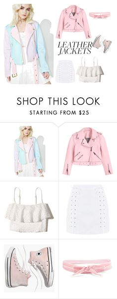 """""""Pink leather jacket"""" by dakota4-1 on Polyvore featuring Sugarpills, Hollister Co., Topshop, Madewell and Aamaya by Priyanka"""