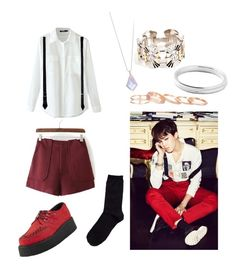 """""""jimin war of hormone inspired outfit"""" by effieteo ❤ liked on Polyvore featuring T.U.K., Miss Selfridge, Emilio Pucci, Dsquared2, Hansel from Basel, Kendra Scott and Ippolita"""