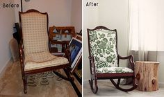 makeover for an old rocking chair! how to keep your grandparents old furniture looking great in your space~    melissa_before_after_chair