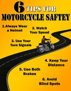 6 Tips for Motorcycle Safety #motorcycle #safety #infographic