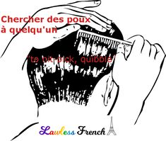 To look for lice. not the most charming visual, is it? But the French expression ''chercher des poux'' is a useful one, especially when someone is looking for trouble. French Expressions, Idiomatic Expressions, French People, Teacher Boards, French Teacher, Idioms, Learn French, French Language, Vocabulary