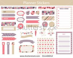 Planner stickers with cute hare, carrot and hearts In simple kids cartoon style. Weekly Planner pages.