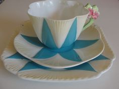 Rare Shelley 1932 Dainty Floral flower handle blue cup & saucer & plate trio #Shelley