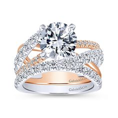 Zaira 14k White And Rose Gold Round Free Form Engagement Ring angle 4
