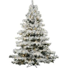 Flocked Alaskan 7.5' White Artificial Christmas Tree with 900 Dura-Lit... (13351440 BYR) ❤ liked on Polyvore featuring home, home decor, holiday decorations, christmas, white home accessories, lighted home decor and white home decor