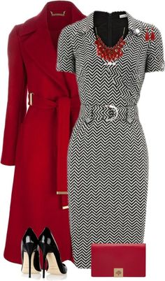 Fashion Style Combination - A zig-zag grey pencil style dress with burgundy accessories, handbag, pumps and burgundy style wrap styled jacket coat.