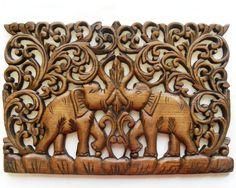 Teak wood carving from Thailand Elephant Love, Elephant Art, Wood Carving Art, Wood Carvings, Tree Sculpture, Sculptures, Thailand Elephants, Balinese Decor, Wooden Art