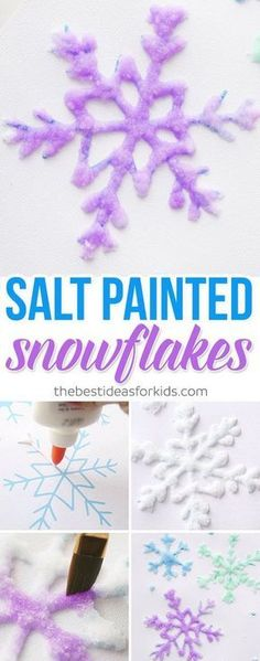 Salt Painted Snowflakes - these are so fun to make! Great winter process art activity craft for kids. Salt painting is a fun indoors craft. #wintercraft #kidscraft #snowflakes #saltpainting via @bestideaskids Winter Activities for Kids | December | January | February | Winter Arts and Crafts | Cold Day Activity | Winter Crafts | Winter Learning | Snow Day Play Ideas