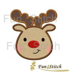 Reindeer Christmas applique machine embroidery design by FunStitch, $4.00
