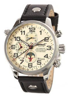 Para hombre reloj infantil con mecanismo de Ingersoll automático amarillo esfera cronográfica y amarillo correa de piel IN6106CR