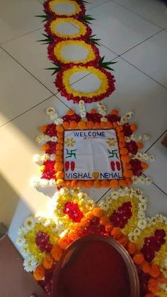Welcome Home Decorations, Diwali Decorations At Home, Home Wedding Decorations, Festival Decorations, Flower Decorations, Diwali Designs, Rangoli Designs Flower, Flower Rangoli, Flower Designs