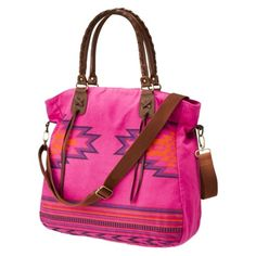 Mossimo Supply Co. pink printed bag. Bright pink, 'native american' design. absurdly bright and i love it.