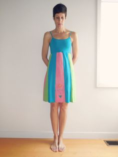 Tank Top T Shirt Dress / Aqua Lime Green Pink / Knee Length / Spring / Summer / Sunshine / Soft / Cotton / Recycled / Upcycled / ohzie