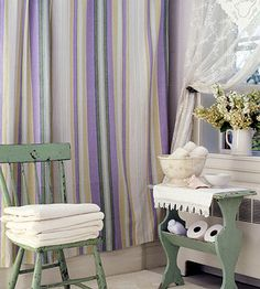 Cottage Accessories: Create the cottage look in your home by using pretty pastels and some of these traditional cottage accessories. Sheer Window Treatments:   Cottage window treatments should look sheer and fresh. These lace panels swag back to reveal a garden view and billow in the breeze.