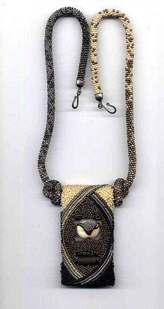 Bead crochet rope and beaded pendant by anothercountry on flickr