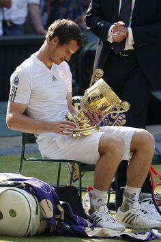 Andy Murray with his trophy after the match.