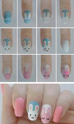 Nail art is a very popular trend these days and every woman you meet seems to have beautiful nails. It used to be that women would just go get a manicure or pedicure to get their nails trimmed and shaped with just a few coats of plain nail polish. Cute Nail Art, Nail Art Diy, Diy Nails, Cute Nails, Pretty Nails, Easter Nail Designs, Easter Nail Art, Cute Nail Designs, Bunny Nails