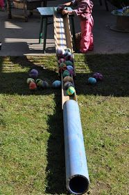 This 'ball chute' looks like fun! The child is using problem solving skills and learning about gravity and motion etc.