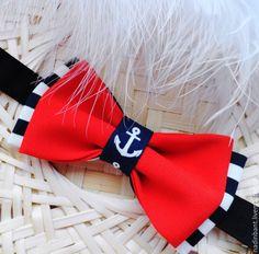 """Купить Галстук бабочка """"Красно-полосатый"""" - ярко-красный, в полоску, галстук бабочка"""