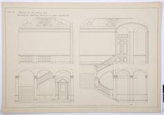 Construction plan of the vestibule of the Hallwyl museum, Sweden. Vestibule, Sweden, Museum, Construction, How To Plan, Drawings, Building, Sketches, Drawing